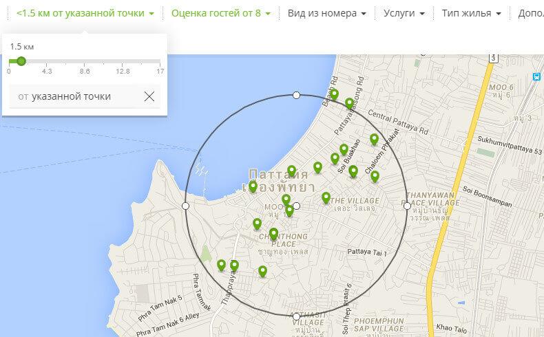 Поиск и бронирование отеля на карте через Hotellook