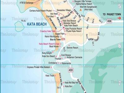Карта пляжа Ката Ной на Пхукете