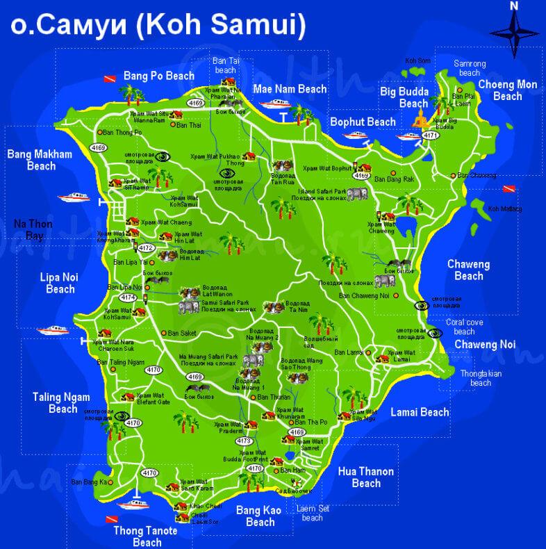 Карта острова Самуи с достопримечательностями на русском языке