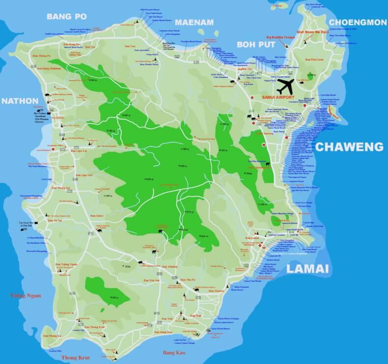 Карта острова Самуи с отелями