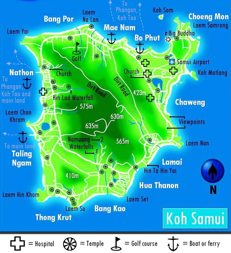Карта Самуи с пирсами и высотами