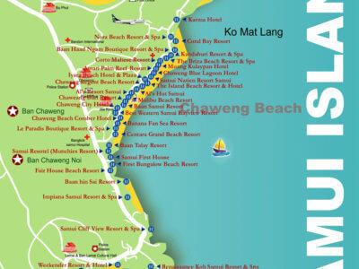 Карта пляжа Чавенг острова Самуи