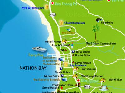 Карта пляжа Натон острова Самуи