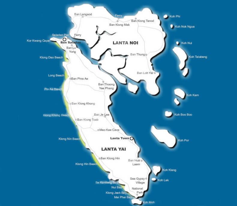 Карта пляжей острова Ко Ланта