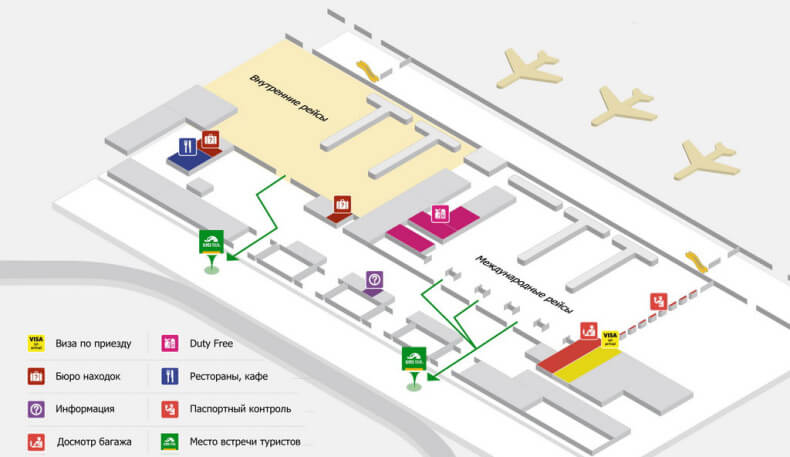 Схема аэропорта Пхукет - первый этаж