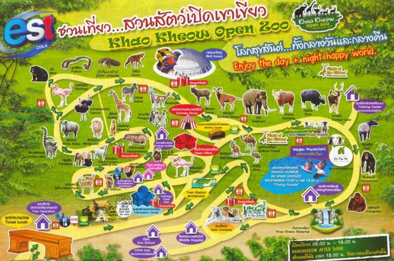 Карта зоопарка Кхао Кхео в Паттайе