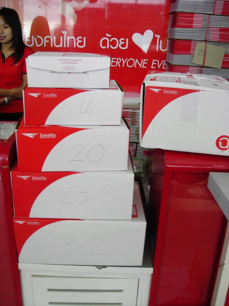 Цена коробок на почте Тайланда в батах