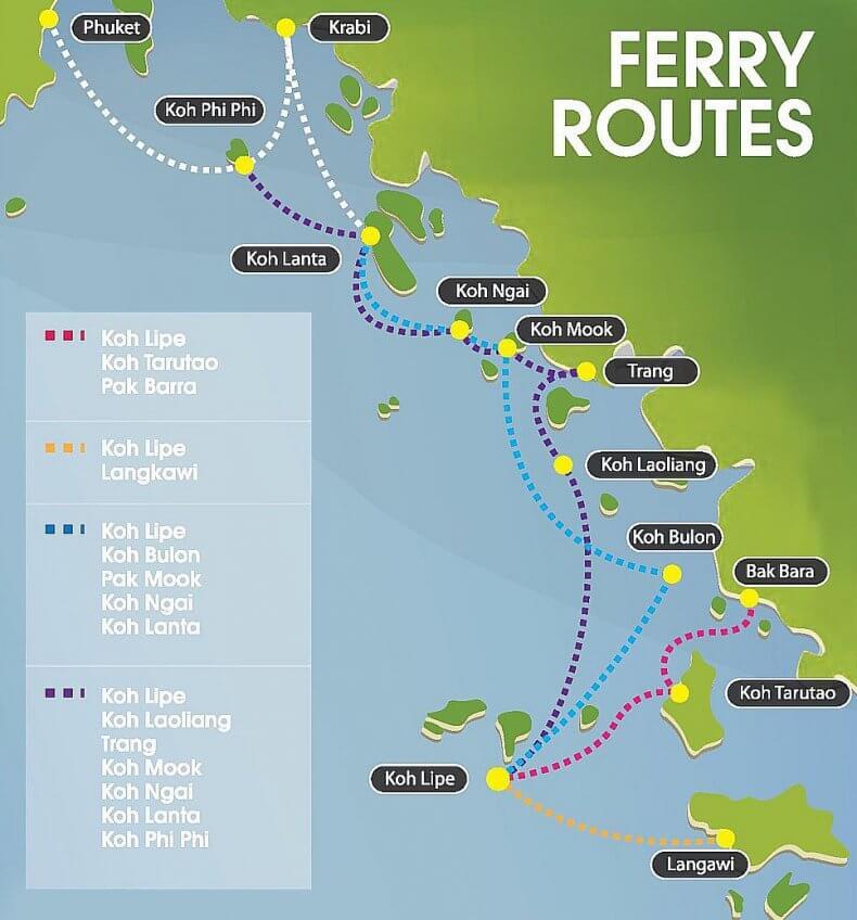 Карта машрутов водного транспорта на остров Ко Липе в Таиланде