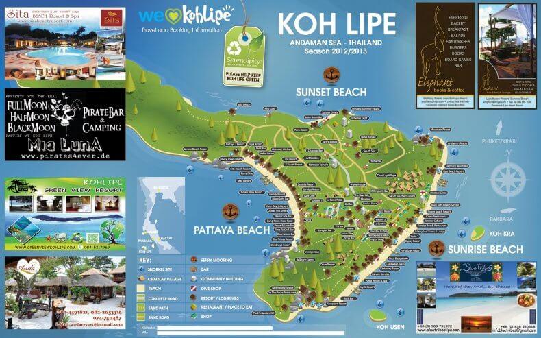 Карта острова Ко Липе с отелями