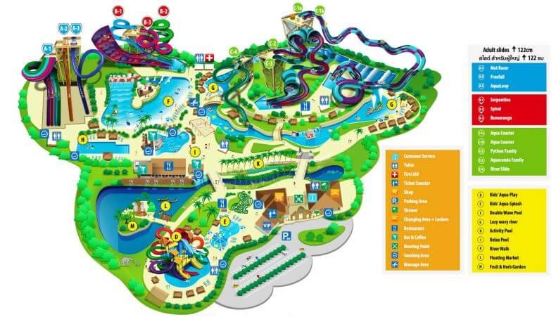 Карта аквапарка Рамаяна в Паттайе