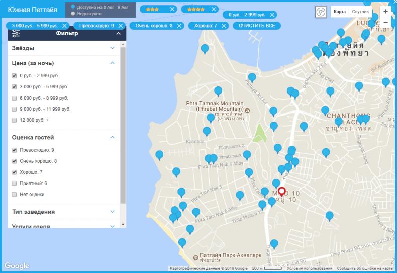 Карта отелей RoomGuru